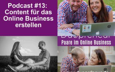 Inhalte für das Online Business erstellen – Folge 13 vom Duopreneur-Podcast