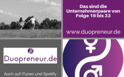 Folge 19 bis 33 vom Duopreneur-Podcast