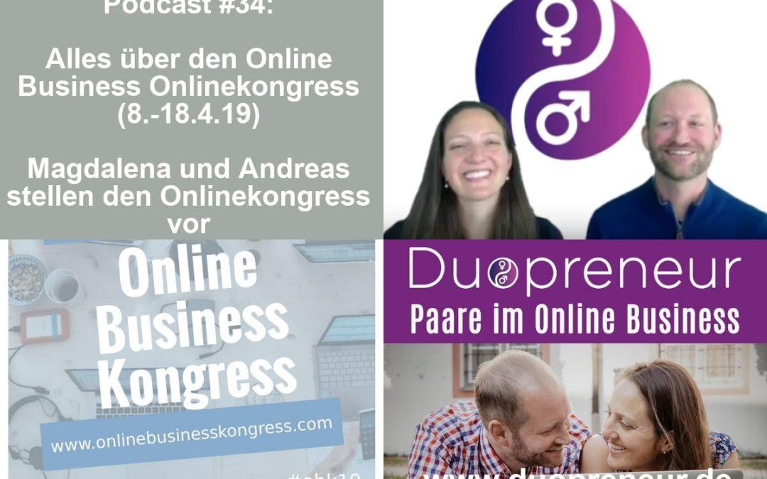 Folge 34 vom Duopreneur-Podcast: Alles über den Online Business Onlinekongress (8.-18.4.19)